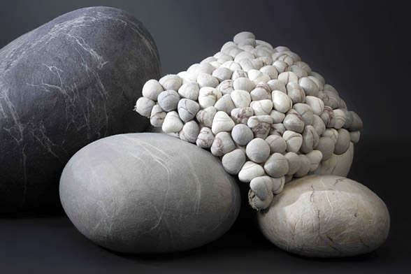 Ronel jordaan 39 s rock cushions42concepts amazing design for Felted wool boulders