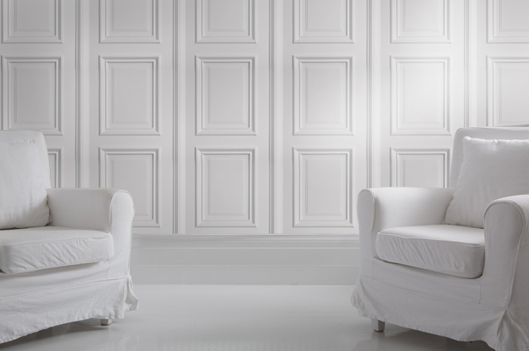 Wallpaper Decor Panel : Iron white panelling bookcase wallpaper no problem by