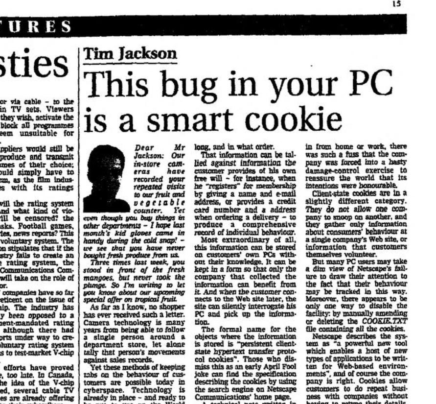 The Original Cookie specification from 1997 was GDPR compliant